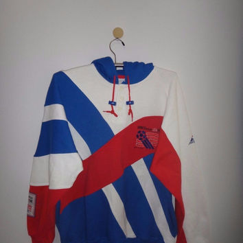 Vintage 1994 USA World Cup Soccer Hooded Multi Color Sweater Jacket Apex One 1990s Fashion Memorabilia