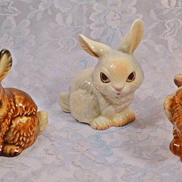 3 Goebel West Germany Bunny Figurines, Vintage Goebel