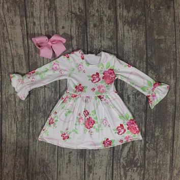 new Valentine's Day spring baby girls milk silk soft cotton dress floral ruffle long sleeve children clothes boutique match bow