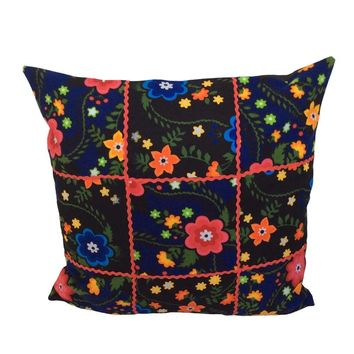 "Flannel Floral/Flowers Pattern 18""x18"" Patchwork Pillow Cover - Blue, Black"