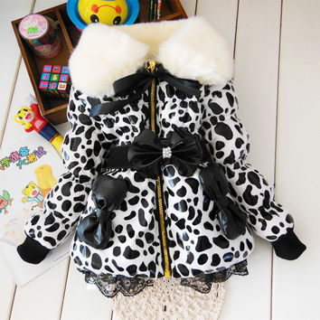 BibiCola  baby parkas Leopard Faux Fur Collar Coat Girls Children  leather Winter warm snowsuit christmas Outerwear down Jacket