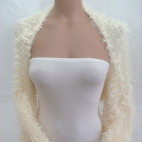 Hand Knitted Long Sleeve( Ivory) Bolero, Shrug by Arzu's Style