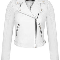 White Cropped Biker Jacket - Biker Jackets - Coats & Jackets - Apparel