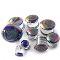 PAIR-Pyrex Glass Oil Slick Double Flare Plugs 10mm/00 Gauge Body Jewelry