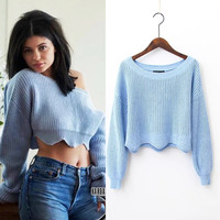 FW16 Strong Character Ladies High Waist Crop Top Sweater [8511464199]