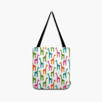 Multicolor Giraffes Tote Bag, Colorful Giraffe Printed Shoulder Bag, Travel Bag, Messenger, Handbag, Yummy Beach Bag