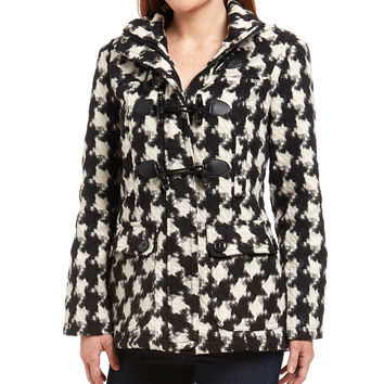 Urban Republic Black & White Houndstooth Hooded Toggle Coat | zulily