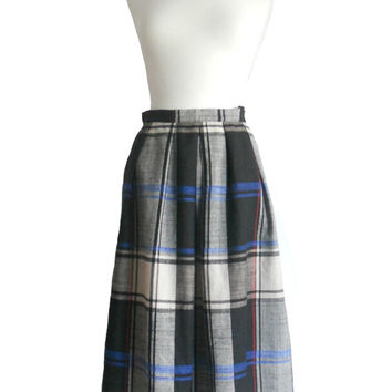 Vintage Plaid Skirt Blue Black White with Thin Red Stripe -RRRuss Brand - Size 16