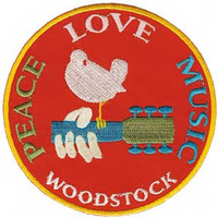 Woodstock Iron-On Patch Peace Love Music Logo