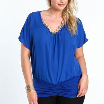 Plus Size Necklace Chiffon Top