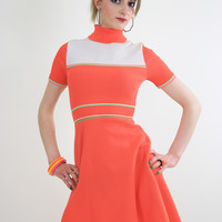 Vintage 60s Hippie neon orange mod mini dress