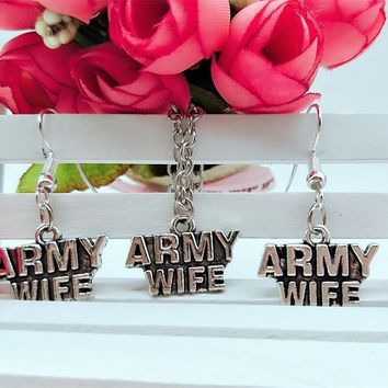 Army Wife Necklace and Earring Jewelry Set