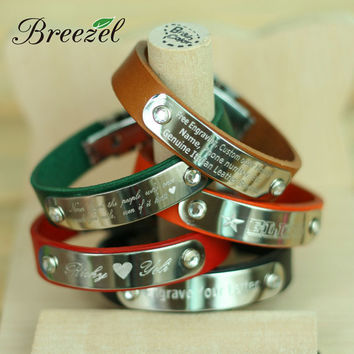Free Custom Engrave Leather Bracelet Personalized Confirmation Gift, Memorial Wristband, For Love Friendship