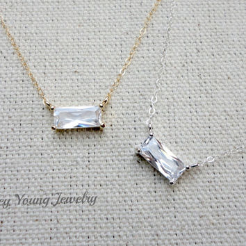 Cubic zirconia necklace, Wedding jewelry,Bridesmaid necklace, Simple everyday jewelry