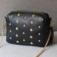 New fashion Rivet women shoulder handbag PU leather