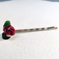 Red flower bobby pin, red rose hair pin,  red flower hair pin,  red flower hair clip, flower bobby pin, red rose bobby pin, red hair clip