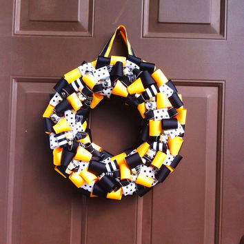 Pittsburgh Steelers Wreath for Front Door Ribbon by WeHaveWreaths