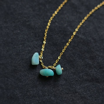 Tiny amazonite raw crystal necklace rose gold 18k gold necklace, layered necklace, crystal necklace, geometric, boho chic, OOAK, gemstone
