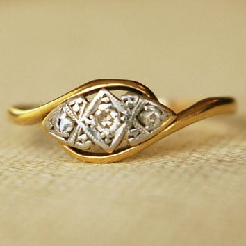 Antique Triple Diamond Ring Art Deco 9k Gold by luxedeluxe on Etsy