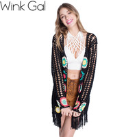 Wink Gal 2015 Womens Fall Fashion Long Sleeve Floral Long Black Lace Cardigan Women Sweater Promotion 1488