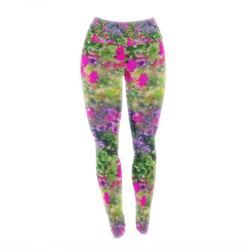 "Carolyn Greifeld ""Water Florals"" Pink Green Yoga Leggings"