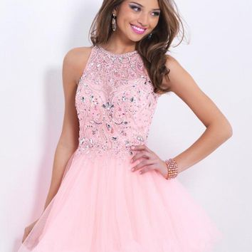 Aure Mario Pink Elegant Rhinestone Cocktail Dress 2016 Tulle Evening Party Gowns Short About Knee Prom Dresses