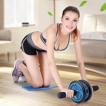 No Noise Abdominal Wheel AB Wheel Abdominal Roller With Mat For Exercise Power Strength Training Fitness Gym Equipment