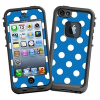 White Polka Dot on Blue Skin  for the iPhone 5 Lifeproof Case by skinzy.com