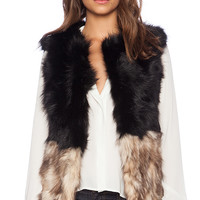 Jennifer Kate Monochrome Rabbit Fur Gilet in Black