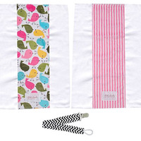 Baby Laundry 91106 Birds & Pink Stripes 2-Pack Minky Burp Cloths with Pacifier Clip