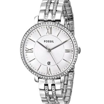Fossil Womens ES3545 Jacqueline Silver Dial Stainless Steel Ladies Watch