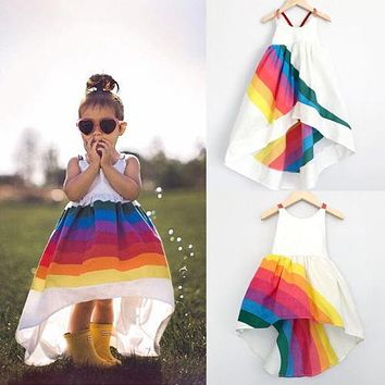 2018 Summer Brand New Princess Dress Kid Baby Girls Party Pageant Cute Sleeveless Backless Strap Rainbow Beach Tutu Dresses 1-6T