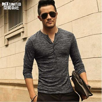 Men Henley Shirttee Tops Long Sleeve Stylish Slim Fit T Shirt Button Placket Casual Men Outwears Popular Design