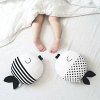 Black White Cartoon Fish Polka Dot & Striped Pillow Toys Baby Kids Boys Girl's Plush Toys Cushion Kids Christmas Gifts 23X23CM