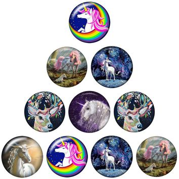 10pcs/lot New Snap Jewelry Oil Painting lucky Tianma Unicorn Charms 18mm Snap Buttons for Woman Snap Bracelet Button Jewelry