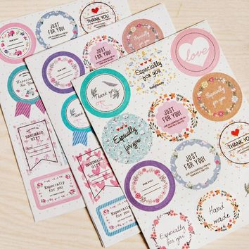 2 Sheets/set Korean Small Fresh Floral Label Stickers DIY Stickers Sushi Sticker Scrapbook Paper