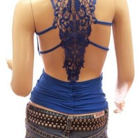 Patty Women Sexiest & Stunning Lace Back Ruched Halter Clubwear Top: Amazon.co.uk: Clothing
