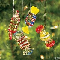 12 Glass HARD CANDY Holiday CHRISTMAS ORNAMENTS/Candies/DOZEN Decor