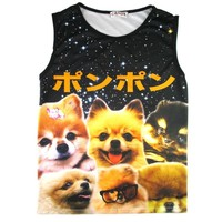 Adorable Pomeranian Photo Graphic Print Oversized Unisex Tank Top