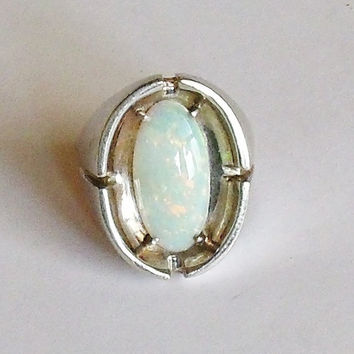 Ring Opal 14K White Gold Mens Sz 11 Vintage Jewelry Southwestern Gift for Him Father's Day October Birthday Birthstone 14th Anniversary
