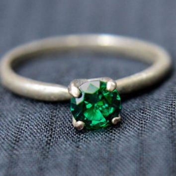 Emerald Ring, Tiffany Set Sterling Silver Ring, Silver and Emerald Cocktail Ring, May Birthstone Ring