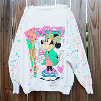 Use Coupon Code SBREAK1 at checkout and Receive 10% off Vintage 80s Minnie Mouse Crewneck Sweater Sweet Stuff Neon Colors
