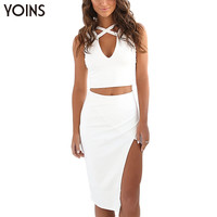 YOINS New Arrival 2016 Women Sexy Sleeveless V-neck Cut Out Crop Tops Wieh Side Split High Waisted Knee-length Skirt 2 Pieces