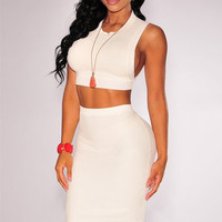 Knit Ribbed Keyhole Top and Arched Vent Skirt Set