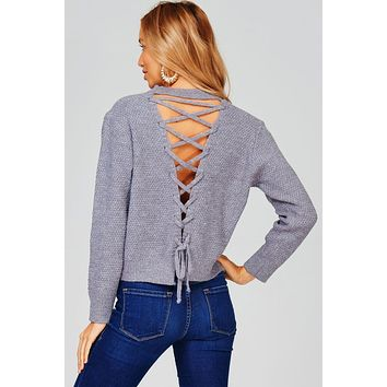 Knit Sweater with Lace Up Back (Heather Grey)