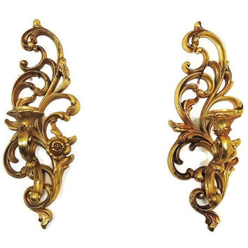 Wall Sconces Syroco Ornate Vintage Gold