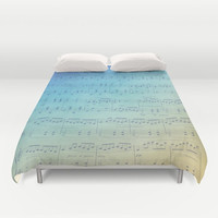 Blue and gold Music Duvet Cover - Sheet Music Ombre design, bedroom linens, teal yellow  fade,   musician's decor