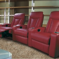 3 pc Red leather like vinyl theater seating sectional sofa with cup holders and adjustable headrests