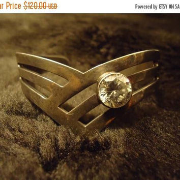 ON SALE Vintage Taxco Mexico 925 Rhinestone Cuff Bracelet Jewelry Retro Mid Century 1950's 1960's Collectible Accessories