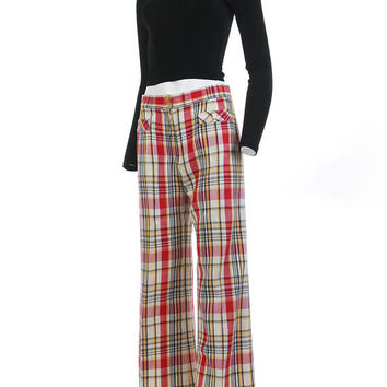 "Plaid Pants Women 70s Clothing High Waist Pants Red Plaid Pants Bell Bottoms Vintage Clothing Women's Size SMALL 28"" Low Waist 39"" Hips"